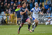 Dane Chisholm (7) of Featherstone Rovers on the attack during the Betfred Championship match between Featherstone Rovers and Halifax RLFC at the Big Fellas Stadium, Featherstone, United Kingdom on 9 February 2020.