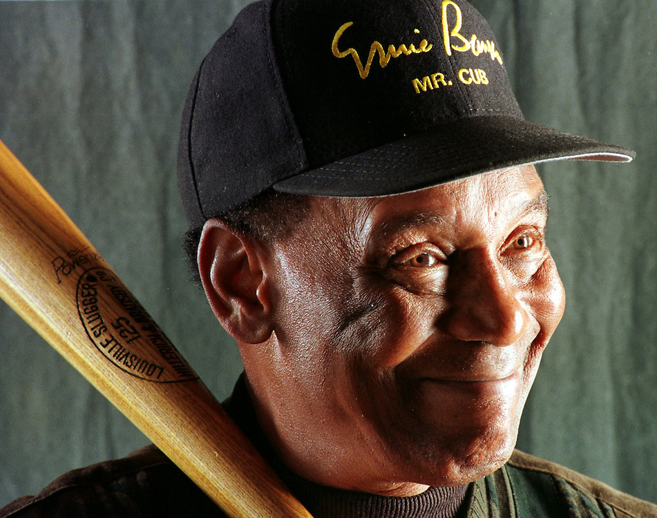 11-04-98  Ernie Banks, Mr. Cub, now touts the importance of high blood pressure awareness as his new cause. (Mike Fender Photo) scans 2, file 33803 (w/ story)