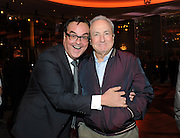 The Tonight Show announcer Steve Higgins, left, and producer Lorne Michaels enjoy the opening of the historic Rainbow Room at 30 Rockefeller Plaza, Wednesday, Oct. 1, 2014 in New York. (Photo by Diane Bondareff/Invision for Tishman Speyer/AP Images)