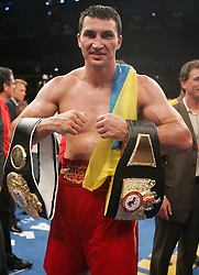 Wladimir Klitschko poses after his fight against Samuel Peter Saturday night at Boardwalk Hall in Atlantic City, NJ.  Klitschko won via 12 round unanimous decision.