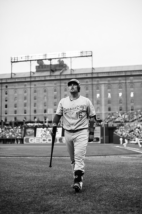 BALTIMORE, MD - MAY 26: ( *** EDITORS NOTE *** IMAGE HAS BEEN DIGITALLY CONVERTED TO BLACK & WHITE) Billy Butler #16 of the Kansas City Royals looks on during the game against the Baltimore Orioles at Oriole Park at Camden Yards on May 26, 2012 in Baltimore, Maryland. (Photo by Rob Tringali) *** Local Caption *** Billy Butler