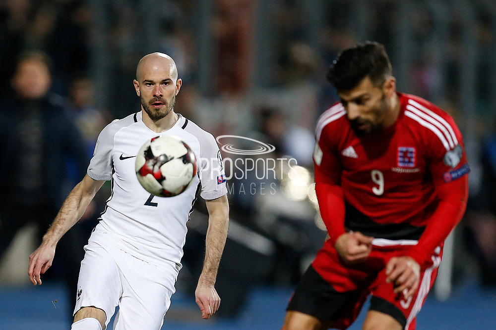 France's defender Christophe Jallet passes the ball during the FIFA World Cup 2018 qualifying football match, Group A, between Luxembourg and France on March 25, 2017 at Josy Barthel stadium in Luxembourg - Photo Benjamin Cremel / ProSportsImages / DPPI