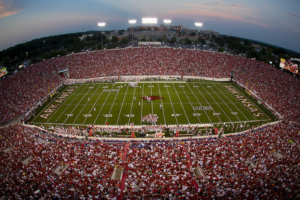 LITTLE ROCK, AR - September 11:   View of War Memorial Stadium during a game between the Arkansas Razorbacks and the Louisana Monroe Warhawks at War Memorial Stadium on September 11, 2010 in Little Rock, Arkansas.  The Razorbacks defeated the Warhawks 31 to 7.  (Photo by Wesley Hitt/Getty Images) *** Local Caption ***