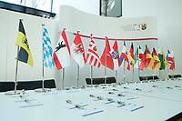 25 MAR 2010, BERLIN/GERMANY:<br /> Faehnchen der Bundeslaender und Ausweisschilder, Ministerpraesidentenkonferenz, MPK, Landesvertretung Rheinland-Pfalz<br /> IMAGE: 20100325-01-001<br /> KEYWORDS: Fahne, Fahnen, Flagge, Flaggen