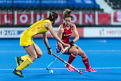 Anna Toman of Great Britain Women is watched by Wenyu Xu of China Women during the 2019 Women's FIH Pro League match at Lee Valley Hockey Centre, Stratford<br /> Picture by Simon Parker/Focus Images Ltd <br /> 03/05/2019