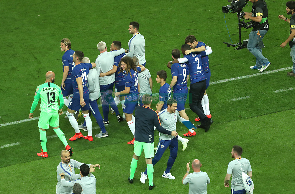 Chelsea players celebrate at full time during the UEFA Europa League final at The Olympic Stadium, Baku, Azerbaijan.