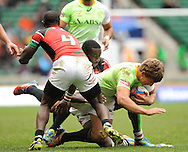 LONDON, ENGLAND - Sunday 11 May 2014, Kwagga Smith of South Africa during the Plate final match between South Africa and Kenya at the Marriott London Sevens rugby tournament being held at Twickenham Rugby Stadium in London as part of the HSBC Sevens World Series.<br /> Photo by Roger Sedres/ImageSA