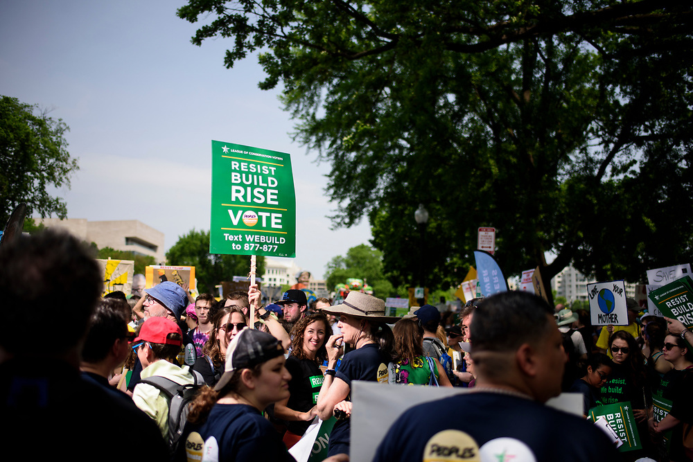 Washington, D.C. - April 29, 2017: The League of Conservation Voters and Chispa participate in the People's Climate Movement in Washington D.C. Saturday April 29, 2017. <br /> <br /> <br /> CREDIT: Matt Roth for The League of Conservation Voters