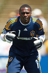 August 21, 2010; Santa Clara, CA, USA;  Los Angeles Galaxy goalkeeper Donovan Ricketts (1) warms up before the game against the San Jose Earthquakes at Buck Shaw Stadium. San Jose defeated Los Angeles 1-0.