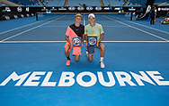 Finalisten RUDOLF MOLLEKER/HENRI SQUIRE (GER) mit Pokal, Siegerhrung Junioren Doppel Finale<br /> <br /> Tennis - Australian Open 2018 - Grand Slam / ATP / WTA -  Melbourne  Park - Melbourne - Victoria - Australia  - 26 January 2018.