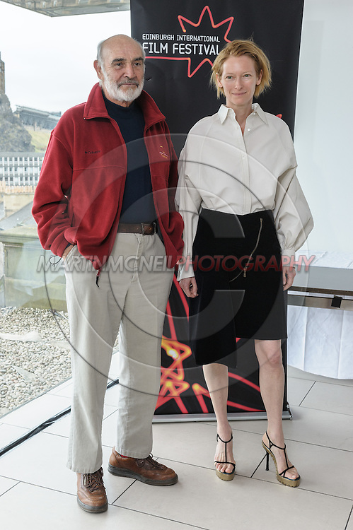 EDINBURGH, SCOTLAND, JUNE 21, 2008: Sir Sean Connery and Tilda Swinton attend a photocall during the 62nd annual Edinburgh International Film Festival inside the Point Conference Center on Saturday, June 21, 2008 in Edinburgh, Scotland (Martin McNeil)