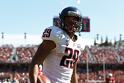 PALO ALTO, CA - OCTOBER 06: Wide receiver Austin Hill #29 of the Arizona Wildcats celebrates after scoring a touchdown against the Stanford Cardinal during the third quarter at Stanford Stadium on October 6, 2012 in Palo Alto, California. The Stanford Cardinal defeated the Arizona Wildcats 54-48 in overtime. (Photo by Jason O. Watson/Getty Images) *** Local Caption *** Austin Hill