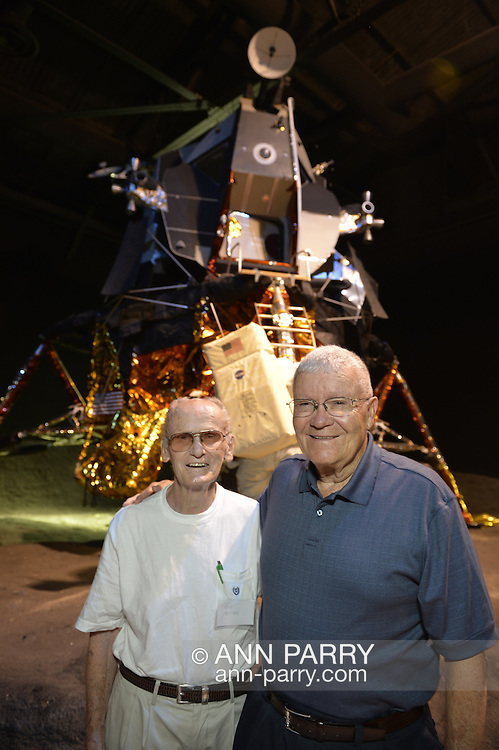 L-R. GUS PREISER, 87, of Levittown, and former NASA Apollo astronaut FRED HAISE are at a Summer of '69 Celebration Event held at the Long Island Cradle of Aviation Museum, on the 45th Anniversary of NASA Apollo 11 LEM landing on the moon July 20, 1969. Preiser worked on the footpad of the LEM Lunar Excursion Module. Haise, the lunar module pilot for Apollo 13 mission, was in the LEM Room during the reunion of former Northrop Grumman Aerospace Corporation employees. Behind them is Lunar Module LM-13 intended for Apollo 18 mission to Copernicus Crater in 1973, which was canceled.
