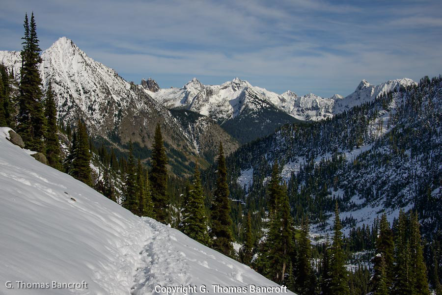 Whistler Mountain on the left and looking northeast through Sawtooth Roadless area into Liberty Bell Roadless Area.