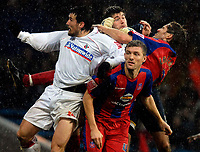 Photo: Alan Crowhurst.<br /> Crystal Palace v Swindon Town. The FA Cup. 06/01/2007. Palace Keeper Scott Flinders (C) is hounded in the penalty area.