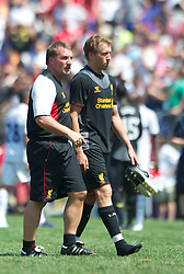 BALTIMORE, MD - Saturday, July 28, 2012: Liverpool manager Brendan Rodgers and Lucas Leiva after the goalless draw against Tottenham Hotspur during a pre-season friendly match at the M&T Bank Stadium. (Pic by David Rawcliffe/Propaganda)