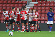 Josh Sims of Southampton U23's celebrates the first goal 1-0 during the Under 23 Premier League 2 match between Southampton and Manchester United at St Mary's Stadium, Southampton, England on 22 August 2016. Photo by Phil Duncan.