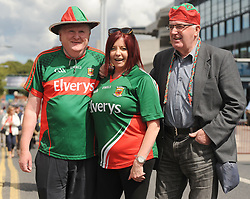 Mayo supporters Michael Waldron, Gretta McManus and Mick Roche from Irishtown<br /> on their way to the Croke park for the All Ireland quarter final replay<br /> Pic Conor McKeown