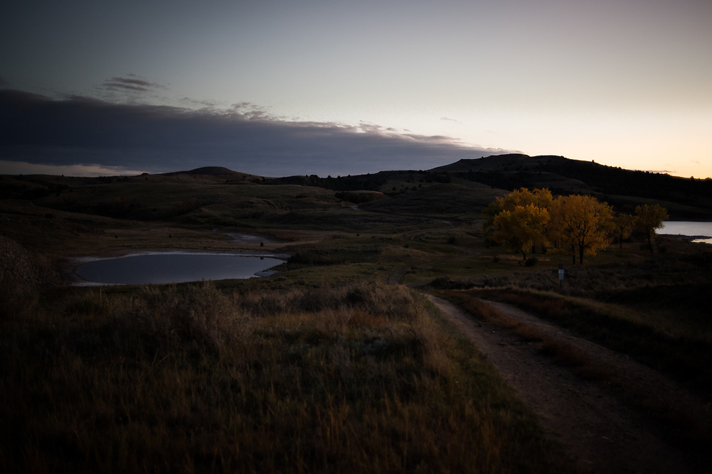"""Clouds over the landscape of the Shadehill Recreation Area near the spot where frontiersman Hugh Glass was mauled, inspiring the movie """"The Revenant,"""" south of Lemmon, SD on October 6, 2017."""