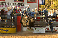 Colton Beaty rides JK Rodeo's 336 Flashbang JK during the Xtreme Bulls event at the Elizabeth Stampede on Friday, June 1, 2018.