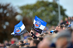 A general view of two Bath Rugby flags being waved in the crowd - Photo mandatory by-line: Patrick Khachfe/JMP - Mobile: 07966 386802 25/10/2014 - SPORT - RUGBY UNION - Bath - The Recreation Ground - Bath Rugby v Toulouse - European Rugby Champions Cup