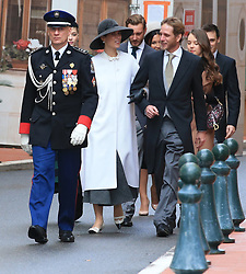 Tatiana Santo Domingo and Andrea Casiraghi<br /> The royal family of Monaco going to the St. Nicholas Cathedral for the beginning of the National Day festivities on November 19th 2019.