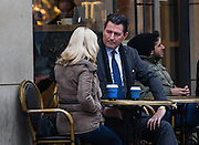 EXCLUSIVE-EXCLUSIVE- EXCLUSIVE<br /> <br /> Former Strictly Come Dancing star Kristina Rihanoff  has a quick cup-of cha-cha-cha with top dance judge Gary Edwards.<br /> <br /> The pair were secretly snapped having a 30 minute meeting at a coffee house in London's Soho.<br /> <br />   Gary,50, who appears on Dancing With The Stars All Access in America is said to be in the running to replace Len Goodman on the Strictly panel although the BBC are not expected to choose a successor until later in the year.<br /> <br />   Kristina, fresh from her hit West End show ,One More Dance with Gleb Savchenko, is working on several new  projects including one with Gary on  Dancing With The Stars in Los Angeles.<br /> <br />   Gary, known as the Ballroom Giant because he stands 6ft 4 inches, became famous overnight after teaching King of Pop Michael Jackson the Cha-Cha-Cha.<br /> <br /> Photo Shows: Strictly Come Dancing dancers Kristina Rihanoff shares a coffee in Soho this afternoon with ballroom judge Gary Edwards, the man tipped to take over from Len Goodman.<br /> ©John Nguyen/Exclusivepix Media