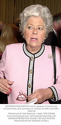 BARONESS BOOTHROYD former speaker of the House of Commons, at a luncheon in London on 20th April 2001.OND 53