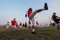 The Jesuit Marauders warm up before the game as the Folsom Bulldogs host the Jesuit Marauders,  Friday Sep 1, 2017. The Game was moved to Folsom from Jesuit due to the high temperatures. <br /> photo by Brian Baer