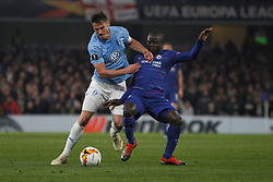 February 21, 2019 - London, Greater London, United Kingdom - Markus Rosenberg and N'Golo Kante during UEFA Europa League Round of 32 2nd Leg between Chelsea and Malmo FF at Stamford Bridge stadium, London, England on 21 Feb 2019. (Credit Image: © Action Foto Sport/NurPhoto via ZUMA Press)