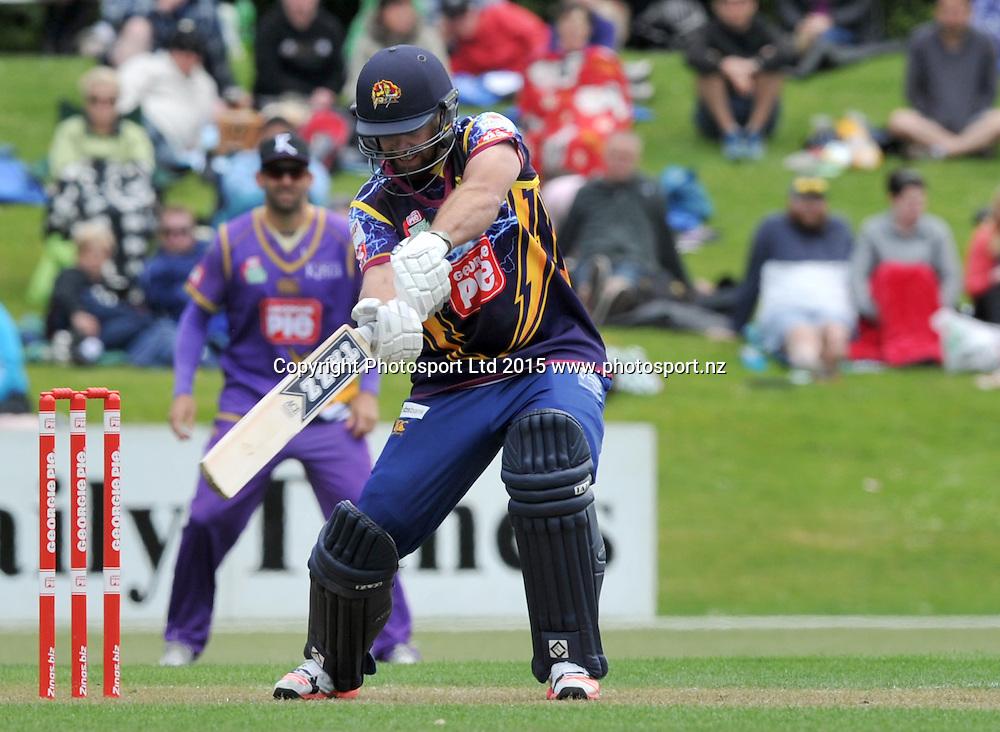 Otago Volts Brad Wilson bats in the Georgie Pie Super Smash Twenty20 cricket match between the Otago Volts v Canterbury Kings held at the University Oval, Dunedin. 29 November 2015.