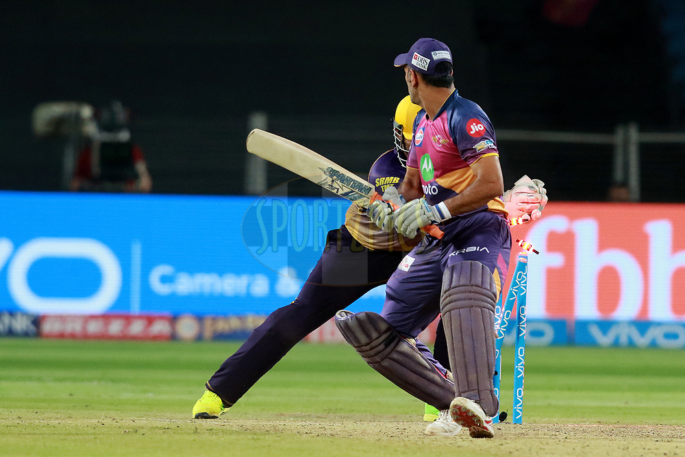 MS Dhoni of RPS get out during match 30 of the Vivo 2017 Indian Premier League between the Rising Pune Supergiants and the Kolkata Knight Riders  held at the MCA Pune International Cricket Stadium in Pune, India on the 26th April 2017<br /> <br /> Photo by Rahul Gulati - Sportzpics - IPL