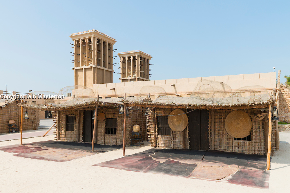 Traditional fishermen's houses on display at the Diving Village outdoor Museum in the  Heritage area at Al Shindagha in Dubai United Arab Emirates