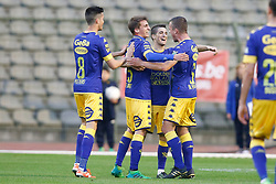 May 13, 2017 - Brussels, BELGIUM - STVV's Christian Ceballos Prieto celebrates after scoring during the Jupiler Pro League match between Union Saint-Gilloise and Sint Truiden VV, in Brussels, Saturday 13 May 2017, on day 8 of the Play-off 2A of the Belgian soccer championship. BELGA PHOTO BRUNO FAHY (Credit Image: © Bruno Fahy/Belga via ZUMA Press)
