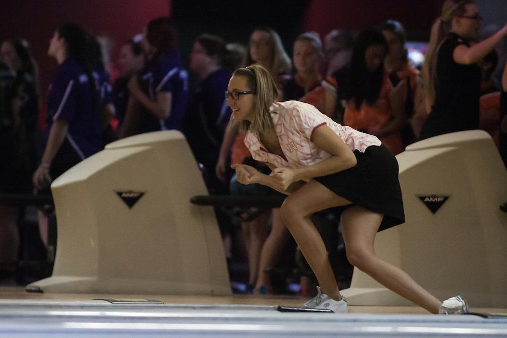 November 23, 2013: Briana Zabierek of the Nebraska Cornhuskers bowls a strike during the Big Red Invitational. Nebraska won the Big Red Invitational at Sun Valley Lanes in Lincoln, Nebraska.