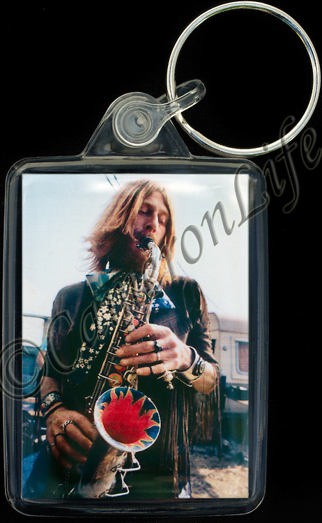 Nik Turner - Key Fob with image approx. 35mm x 50mm from 1970 Isle of Wight Music Festival exhibition on the front. The reverse has an exclusive CameronLife  1970 IW festival design