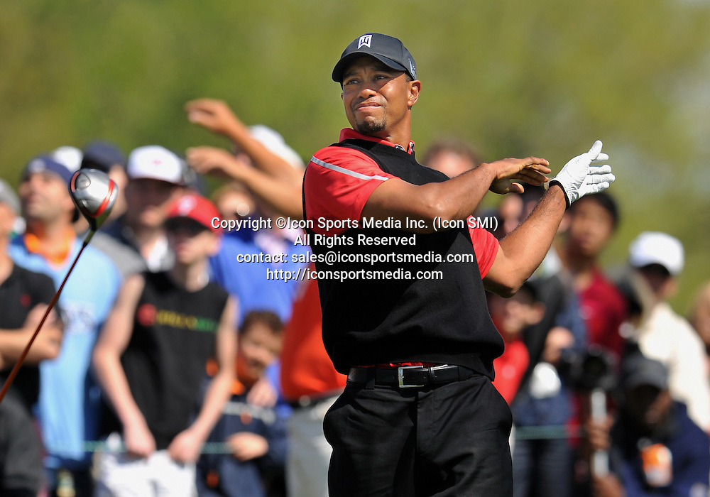 25 March 2013: Tiger Woods with a bad shot on the 9th club goes flying during the final round of the Arnold Palmer Invitational at Arnold Palmer's Bay Hill Club & Lodge in Orlando, Florida.