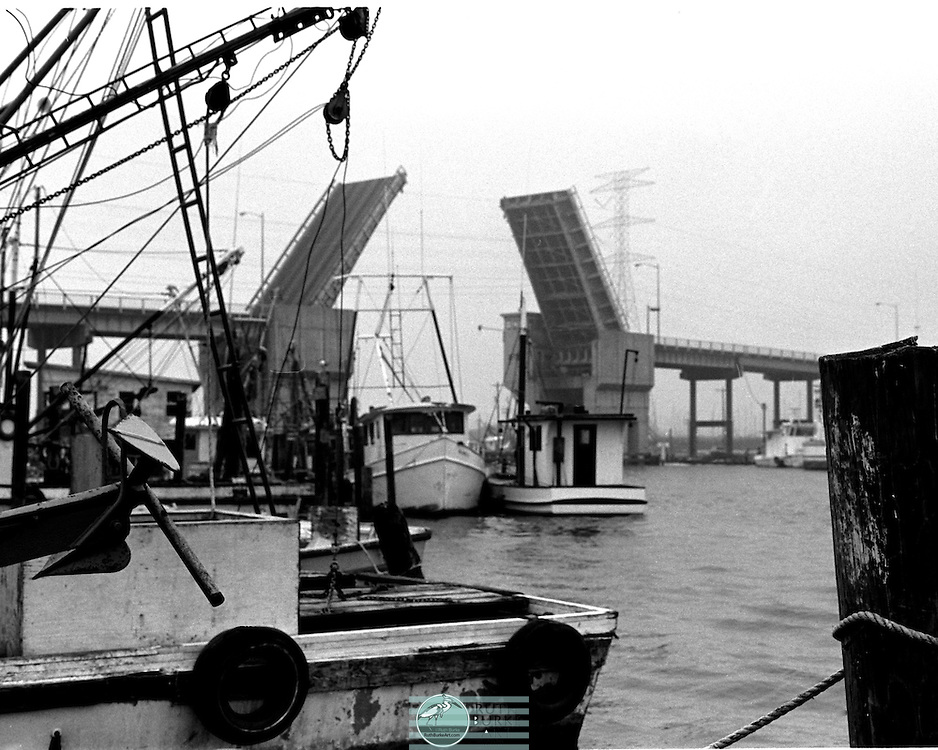 1979 Draw Bridge with 2 passing shrimp boats through bridge opening