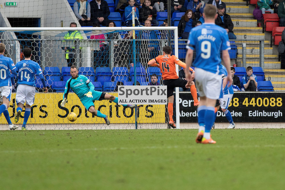 Dundee Utd's Ryan Dow opens the scoring in the first half as St Johnstone's Alan Mannus fumbles the held ball on the line into his own net.McDiarmid Park pre kick off. St Johnstone v Dundee Utd, Scottish Premier League, 02 April 2016.