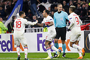 Nabil Fekir of Lyon and Memphis Depay of Lyon and Mariano Diaz of Lyon during the UEFA Europa League, Round of 32, 1st leg football match between Olympique Lyonnais and Villarreal on February 15, 2018 at Groupama stadium at Decines-Charpieu near Lyon, France - Photo Romain Biard / Isports / ProSportsImages / DPPI