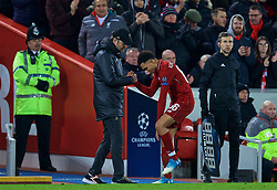 LIVERPOOL, ENGLAND - Tuesday, December 11, 2018: Liverpool's Trent Alexander-Arnold is substituted by manager Jürgen Klopp during the UEFA Champions League Group C match between Liverpool FC and SSC Napoli at Anfield. (Pic by David Rawcliffe/Propaganda)