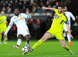 Richard Duffy of Notts County blocks a shot from Nathan Dyer of Swansea City- Mandatory by-line: Nizaam Jones/JMP - 06/02/2018 - FOOTBALL - Liberty Stadium - Swansea, Wales - Swansea City v Notts County - Emirates FA Cup fourth round proper