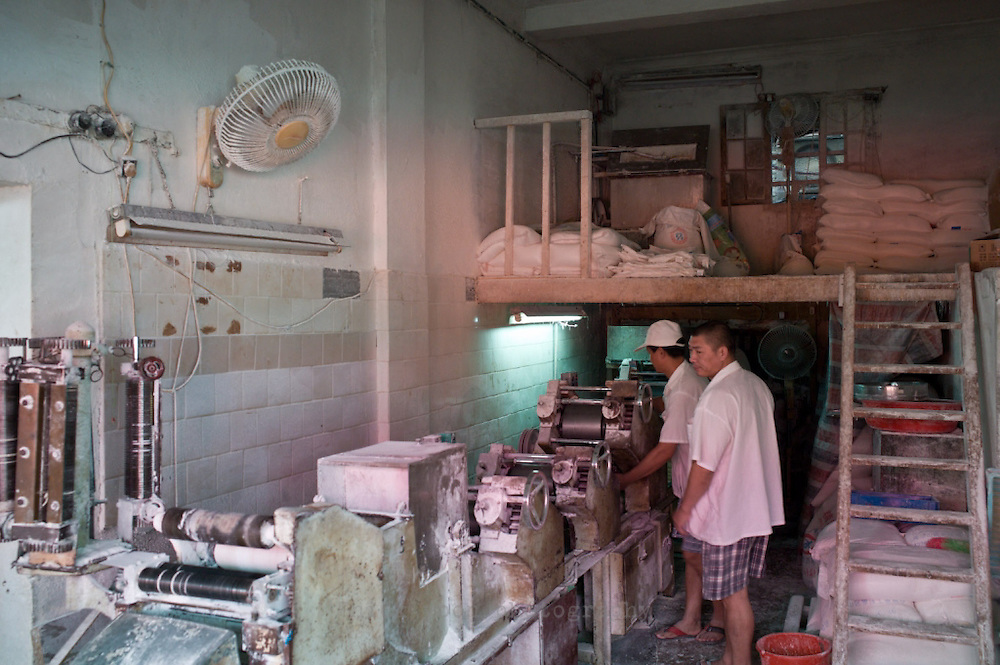Noodle factory, area south of Xintiandi, bordered by Madang, Fuxing Middle, Hefei and Jinan Roads, Shanghai, China.