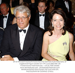 DR & MRS GERT RUDOLPH FLICK he is the German multi-millionaire, at a gala evening in London on 17th June 2002.	PBB 130