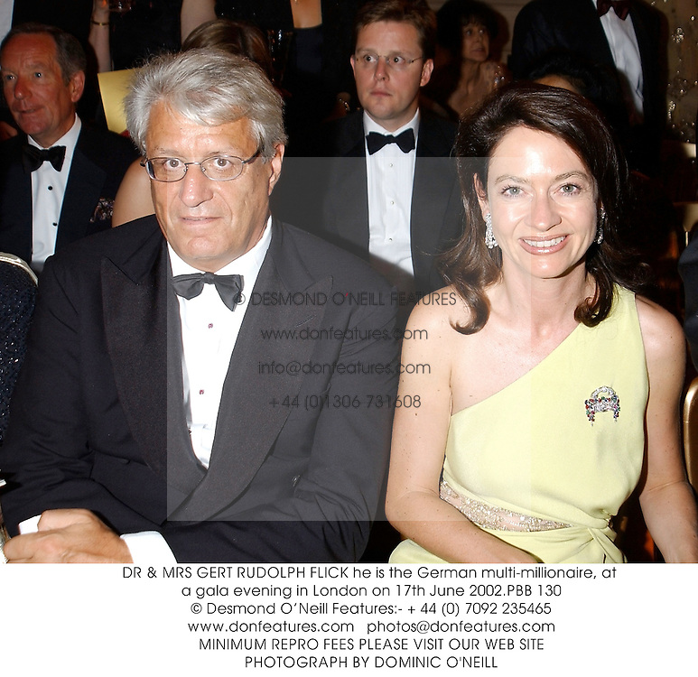 DR & MRS GERT RUDOLPH FLICK he is the German multi-millionaire, at a gala evening in London on 17th June 2002.PBB 130