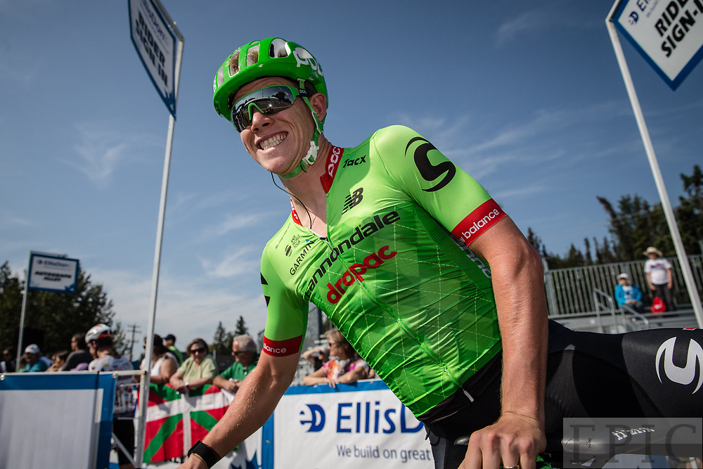SPRUCE GROVE, ALBERTA, CAN - September 2: Lawson Craddock (Cannondale-Drapac) after the morning sign in during stage 2 of the Tour of Alberta on September 2, 2017 in Spruce Grove, Canada. (Photo by Jonathan Devich)