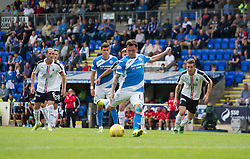St Johnstone's Danny Swanson scoring their first goal. St Johnstone 3 v 0 Falkirk, Group B, Betfred Cup, played 23/7/2016 at St Johnstone's home ground, McDiarmid Park.