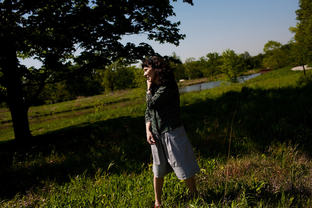"Poet Mary Jo Bang in a park near her apartment in St. Louis, Missouri on May 12, 2008 shortly after the publication of ""Elegy"" a collection of poems dedicated to Mary Jo's son, Michael, who died tragically in 2004. Originally photographed for Newsweek."