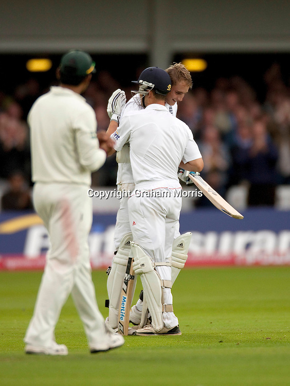 Stuart Broad celebrates his maiden Test century with Jonathan Trott during the final npower Test Match between England and Pakistan at Lord's.  Photo: Graham Morris (Tel: +44(0)20 8969 4192 Email: sales@cricketpix.com) 27/08/10