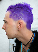 punk from profile with purple hair